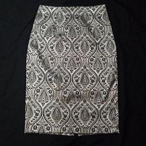 Beautiful Silver Damask Pencil Skirt